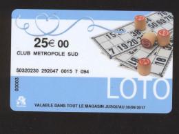 Carte Cadeau Auchan - LOTO - 25 € - CLUB METROPOLE SUD - Cartes Cadeaux