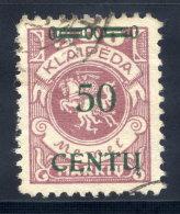 MEMEL (Lithuanian Occupation) 1923 (16. Apr.) 50 C. On 500 Mk.,  Type BII Used.  Michel 173 B II + 400% - Klaipeda
