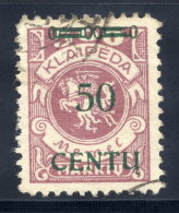 MEMEL (Lithuanian Occupation) 1923 (16. Apr.) 50 C. On 500 Mk.,  Type BII Used.  Michel 173 B II + 400%