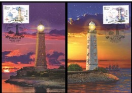 Russia 2016 2 Official Maximum Cards 200th Anniversary Of The Chersonese And Tarkhankut Lighthouses Phare
