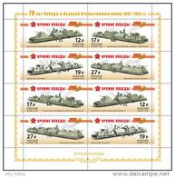 Russia, 2015, Victory At II WW, Military Trains, Railwas, Minisheet Of 2 Sets