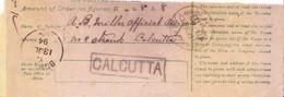 BRITISH INDIA - 1894 RECEIPT WITH CALCUTTA CANCELLATION IN RECTANGULAR - India (...-1947)