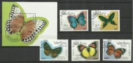 Laos 1378-84,Block 146 Satz  U. Block Kpl Mit 6 Verschiedenen Schmetterlingen, 1993. Gestempelt Mi. 12,90 €