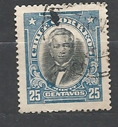 """CHILE     1911 Personalities - Inscribed """"CHILE CORREOS""""  Manuel Montt    Used"""