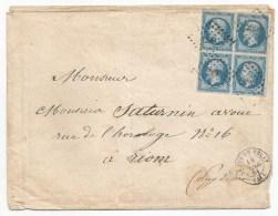 - Lettre - HAUTE LOIRE - LE PUY En VELAY - PC.2590/Bloc De Quatre N°14 + Càd T.15 - 1861
