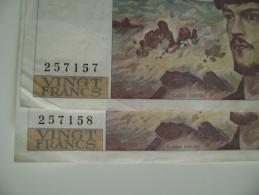 2 BILLET SERIE   CONSECUTIVE BANQUE DE FRANCE 20 FRANCS DEBUSSY ANEE 1986   FRANCS    FRANCAISE - 1962-1997 ''Francs''