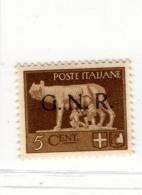 1944 RSI GNR VERONA 5 CENT NUOVO MNH ** - 1944-45 République Sociale