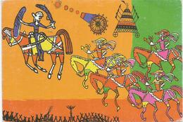 Indian Freedom Struggle With The British (wall Painting.Madhya Pradesh) Postcard INDIA Addressed To ANDORRA