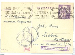 1941 German Occupation Poland Postal Stationery Card, Undercover Address Alves, Lisboa