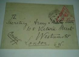 1487) 1915 Field Post Office Censor Ww1 Londra Great Britain Storia Postale - Covers & Documents