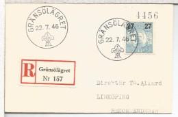 SUECIA GRÄNSÖLÄGRET CC CERTIFICADA MAT TEMA SCOUT 1946