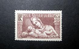 FRANCE 1937 N°356 ** (POUR SAUVER LA RACE. 65C + 25C BRUN-LILAS)