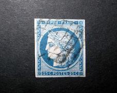 FRANCE 1850 N°4 OBL. (CÉRÈS. IIÈME RÉPUBLIQUE. 25C BLEU. LÉGENDE REPUB FRANC. NON DENTELÉ)