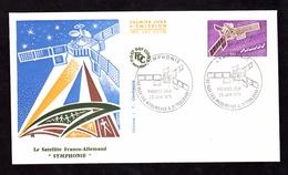 ENVELOPPE PREMIER JOUR - LE SATELLITE FRANCO-ALLEMAND - SYMPHONIE - 26 JUIN 1976 - FDC