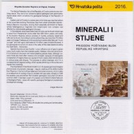 CROATIA OFFICIAL COMMEMORATIVE PROSPECTUS POSTAGE STAMP 2016 MINERALS AND ROCKS SEA SALT And RHYOLITE