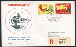 1970 Liechtenstein, Primo Volo First Fly Erstflug Swissair Ginevra - Duala, Timbro Di Arrivo - Lettres & Documents