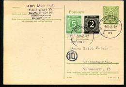 AMERIKANISCHE ZONE P900 B Postkarte RPD Stuttgart Stuttgart-Rabenstein 1946 - Zona Anglo-Americana