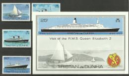 TRISTAN DA CUNHA  1979  VISIT OF QEII,SHIPS SET & MS MNH - Boten