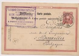 LETTRE COVER DEUTSCHLAND ALLEMAGNE BENNINGEN I. LOTHR. 1888 -> BRUXELLES