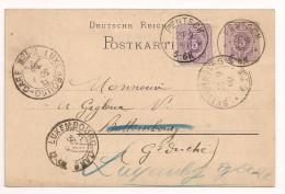 LETTRE COVER DEUTSCHLAND ALLEMAGNE FENTSCH 1890 -> BETTEMBOURG