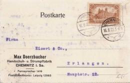 DEUTSCHES REICH 1922 - 1,5 M Sondermarke Auf Pk Gelaufen Von Chemn.n.Erlangen