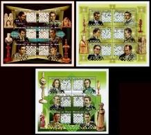 Schach Chess Ajedrez échecs - Niger 1999 - MiNr 1628/1645 - 3 Kleinbogen