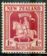 New Zealand 1934 Single Charity Stamp - Crusader #B7