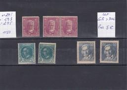 France 1933 - Lot De 7 Timbres - N° 291/293/295