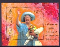 Mid016 KONINGSHUIS BLOEMEN FLOWERS BIRTHDAY QUEEN ELIZABETH THE QUEEN MOTHER ROYALTY ALDERNEY 2000 PF/MNH