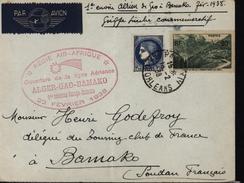 France Soudan Avion Aviation Air Afrique Alger Gao Bamako 1er Courrier Europe Bamako Etoile Filante - Postmark Collection (Covers)