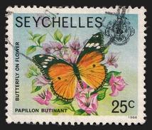 Seychelles 1977-84 Definitives - 1988 Imprint Date - 25c Butterfly Used (Scott 392d SG 408B) - Seychelles (1976-...)