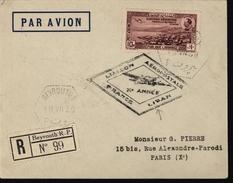 France Liban Avion Aviation Liaison Aéropostale  France Liban Beyrouth Recommandé  YT Ae 79 + 70 Grand Liban
