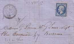 PYRENEES ORIENTALES - LA TOUR DE CAROL - T24 - LE 30 SEPTEMBRE 1867 - N°22 OBLITERATION GC - INDICE 14. - Postmark Collection (Covers)