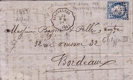 PYRENEES ORIENTALES - CONVOYEUR STATION - RIVESALTE P.N. - LE 23 MAI 1874 - CERES N° 60  OBLITERATION LOSANGE AMBULANT.