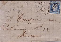 PYRENEES ORIENTALES - CONVOYEUR STATION - PERPIGNAN P.N. - LE 13 SEPT 1872 - CERES N° 60  OBLITERATION GC2610. - Marcophilie (Lettres)