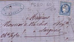 PARIS - BERCY - 27 NOVEMBRE 1872 - CERES N°60 OBLITERATION PGSO - INDICE 10.
