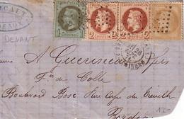 GIRONDE - BORDEAUX - AFFRANCHISSEMENT DE SEPTEMBRE 1871 - AVEC N°25+N°26 PAIRE+N°28 - LE 26-9-1871 - DEVANT DE LETTRE.