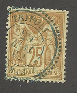 FRANCE - N°92 OBLITERE AVEC CAD BLEU A POINTILLES TRIPOLI DU 29/05/1882 - COTE YT : 5€ -