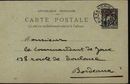 Egypte France Entier Carte Postale Sage Surchargé Rouge Alexandrie Egypte Bureau Français à L'étranger