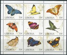 Liberia 1996. Michel #1660/68 MNH/Luxe. Butterflies. (Ts53)
