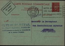 Entier Pétain Petain Commercial Rouge Sur Vert Complément Taxe Perçue Chambre Commerce De Paris Interzone Entier B2