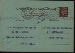 Entier Pétain Petain 1.20 Marron Sur Vert Carte Commerciale Interzone Chambre Commerce De Paris Entier E1