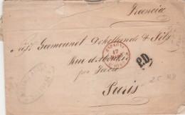 Lettre De Zaragoza Avec Cachet Entrée Espagne OLORON 17/3/1874 + PD Pour Paris - Ambulant Bordeaux à Paris 1è A