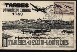 Avion Aviation Journée Du Timbre Tarbes Ossun Lourdes Aeroport International Douanier YT 540 + Taxe 76 Et 70