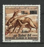 MAURITANIA MAURITANIE  1984  JACKAL, 'AIDE AU SAHEL' OVERPRINT/SURCHARGE  MNH - Mauritania (1960-...)