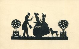 TWO LADIES, MAN AND DOG ~ FINE OLD SILHOUETTE Postcard - Silhouette - Scissor-type