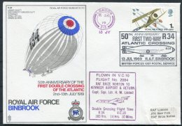1969 GB Royal Air Force Museum Cover SC 10 / RAF Binbrook BFPS Transatlantic Flight R34 Airship VC 10 - 1952-.... (Elizabeth II)