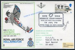 1970 GB Royal Air Force Museum Cover SC 14 / BFPS RAF Hullavington Aerobatic Championships SIGNED USSR Egorov Yak 18 - 1952-.... (Elizabeth II)