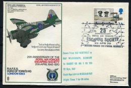 1970 GB Royal Air Force Museum Cover SC 28 / RAFES Duke Of York's HQ, London BFPS Escaping Society, Westland Lysander - 1952-.... (Elizabeth II)