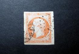 FRANCE 1853 N°16 OBL. (NAPOLÉON III. SECOND EMPIRE. 40C ORANGE. LÉGENDE EMPIRE FRANC. NON DENTELÉ)
